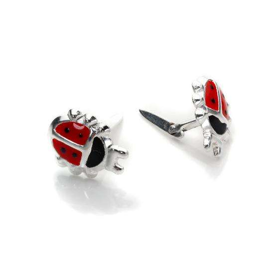 Andralok Sterling Silver Enamelled Ladybird Stud Earrings