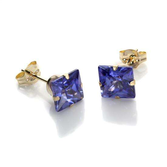 9ct Yellow Gold Tanzanite CZ 6mm Square Stud Earrings
