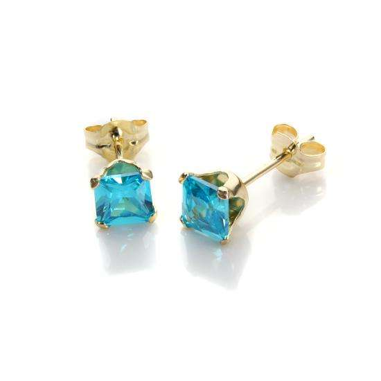 9ct Yellow Gold Aquamarine CZ 4mm Square Stud Earrings