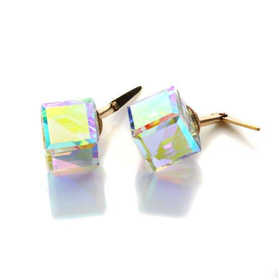 Andralok 9ct Yellow Gold Aurora Borealis Crystal Cube Stud Earrings