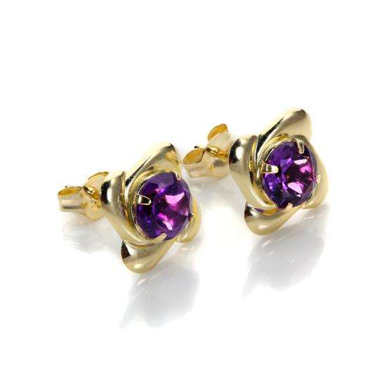 9ct Yellow Gold Amethyst 5mm Round Stud Earrings
