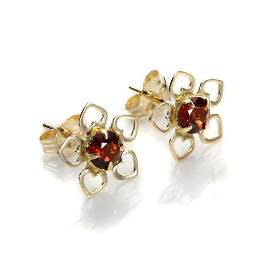 9ct Yellow Gold Garnet 3.5mm Round Stud Earrings