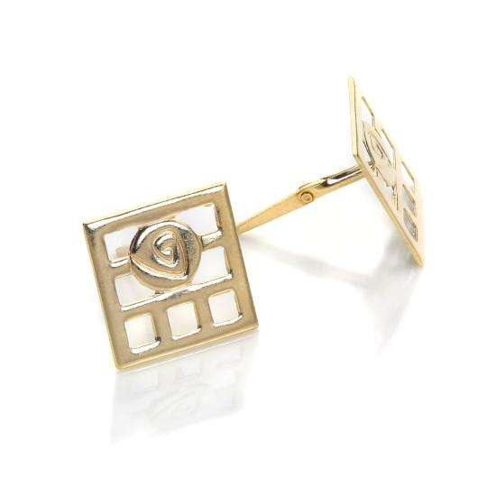 Andralok 9ct Yellow Gold Square Mackintosh Stud Earrings