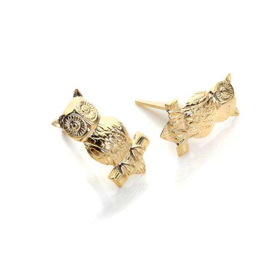 Andralok 9ct Yellow Gold Owl on Branch Stud Earrings