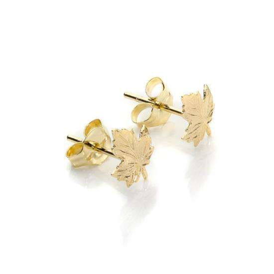 9ct Yellow Gold Small Leaf Stud Earrings