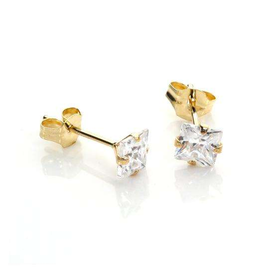 9ct Yellow Gold White CZ Martini Claw Fitting Stud Earrings