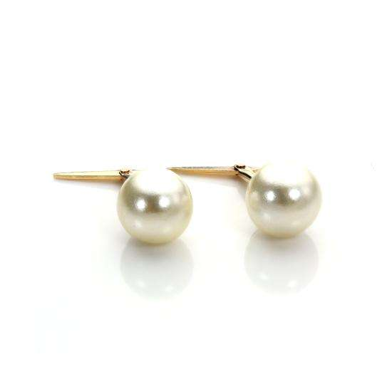 Andralok 9ct Yellow Gold Simulated Pearl 6mm Earrings