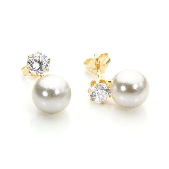 9ct Yellow Gold Clear CZ & Pearl Stud Earrings