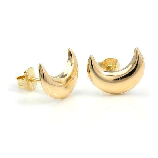 9ct Yellow Gold Crescent Moon Stud Earrings