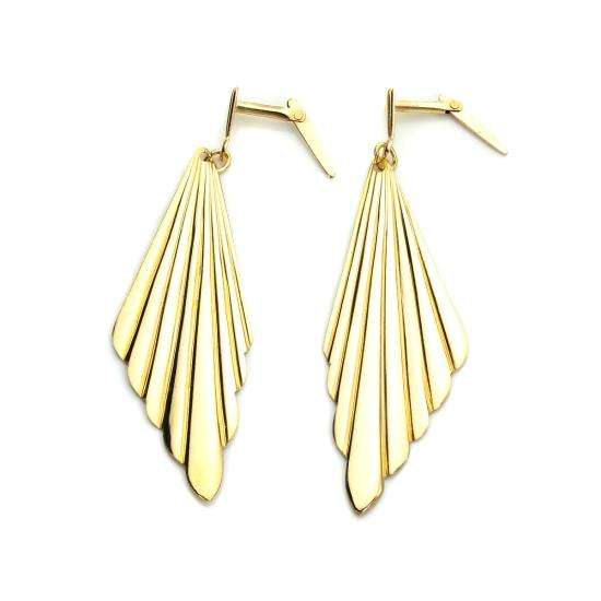 Andralok 9ct Yellow Gold Art Deco Grooved Fan Drop Earrings