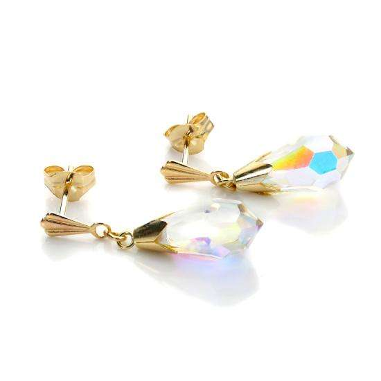 9ct Yellow Gold Aurora Borealis CZ Drop Earrings