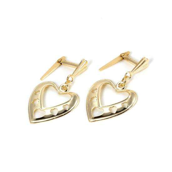 Andralok 9ct Yellow Gold Hearts Drop Earrings