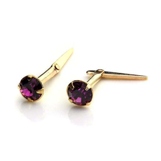 9ct Gold Andralok Stud Earrings with 3mm Amethyst Crystal