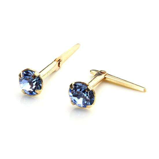 9ct Gold Andralok Stud Earrings with 3mm Light Sapphire Crystal