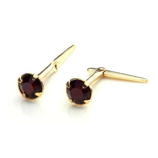9ct Gold Andralok Stud Earrings with 3mm Garnet Crystal