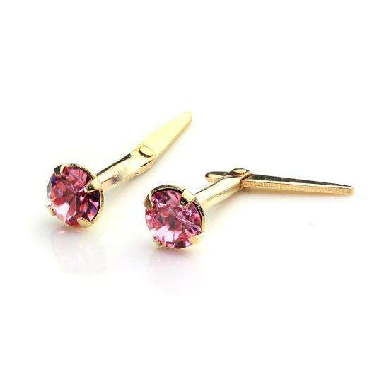 9ct Gold Andralok Stud Earrings with 3mm Light Rose Crystal