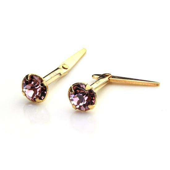 9ct Gold Andralok Stud Earrings with 3mm Light Amethyst Crystal