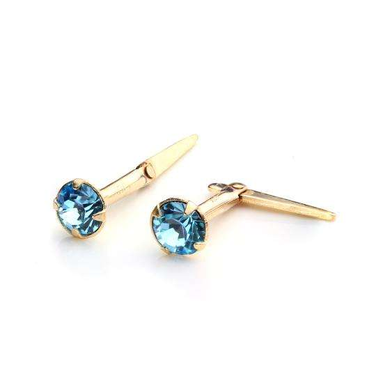 9ct Gold Andralok Stud Earrings with 3mm Aqua Crystal
