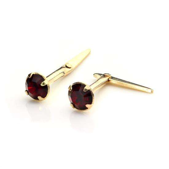 9ct Gold Andralok Stud Earrings with 3mm Ruby Crystal