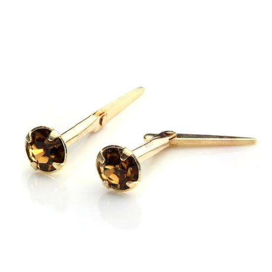 9ct Gold Andralok Stud Earrings with 3mm Smoked Topaz Crystal