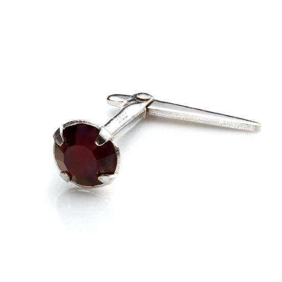 Sterling Silver Andralok Nose Stud with 3mm Garnet Crystal