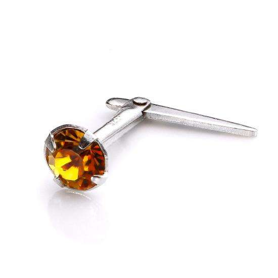 Sterling Silver Andralok Nose Stud with 3mm Topaz Crystal