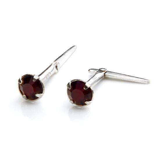 Sterling Silver Andralok Stud Earrings with 3mm Garnet Crystal