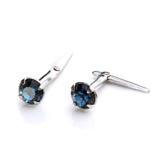 Sterling Silver Andralok Stud Earrings with 3mm Montana Crystal