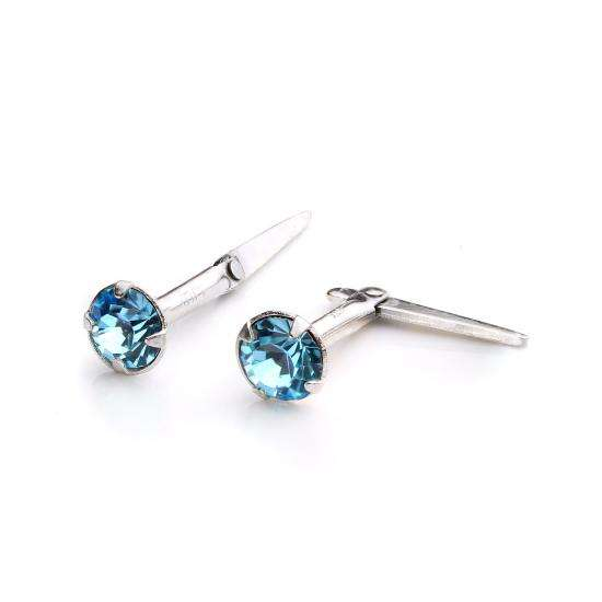 Sterling Silver Andralok Stud Earrings with 3mm Aqua Crystal