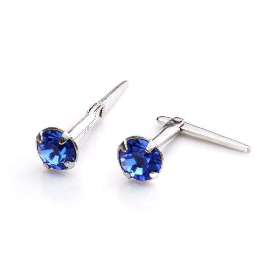Sterling Silver Andralok Stud Earrings with 3mm Sapphire Crystal