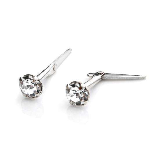 Sterling Silver Andralok Stud Earrings with 3mm Clear Crystal