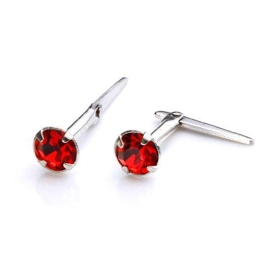 Sterling Silver Andralok Stud Earrings with 3mm Siam Crystal