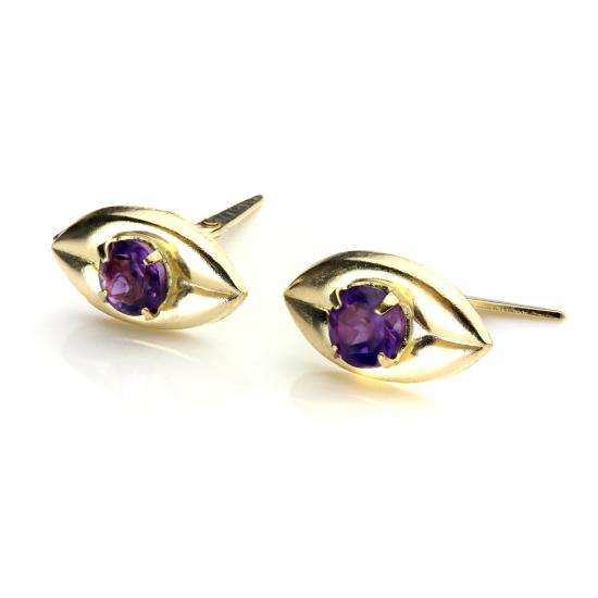9ct Gold & Amethyst Crystal Coffee Bean Andralok Stud Earrings