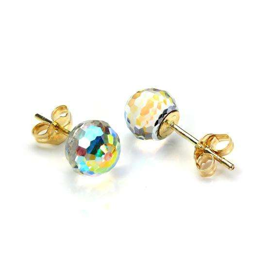 9ct Yellow Gold Small Faceted 6mm Crystal Ball Stud Earrings