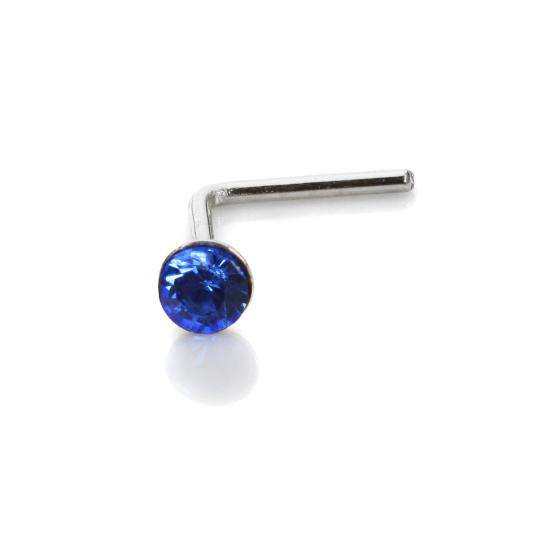 Sterling Silver 2.8mm Round Sapphire Crystal Nose Stud L Pin