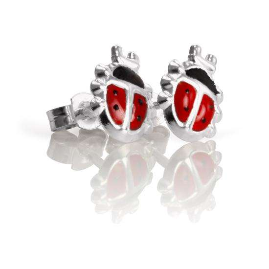 Sterling Silver Enamelled Ladybird Stud Earrings