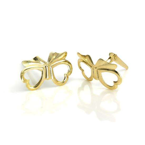 9ct Gold Andralok Heart Bow Stud Earrings