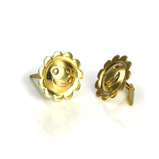 9ct Gold Smiling Sun Andralok Stud Earrings