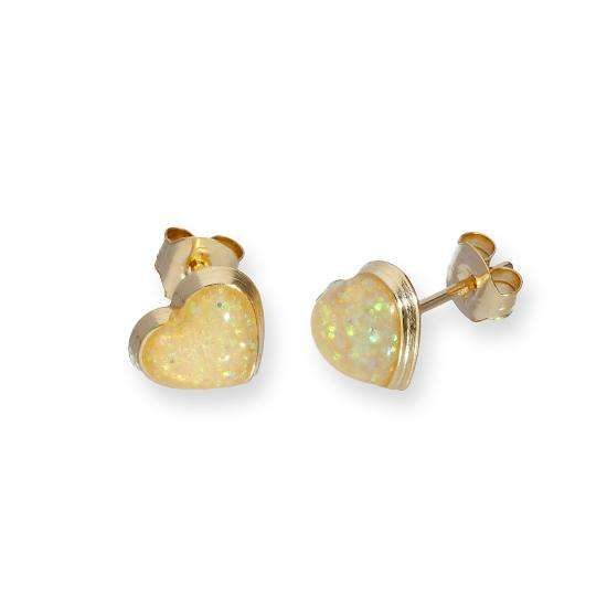 9ct Gold & Opal Glitter Enamel Heart Stud Earrings