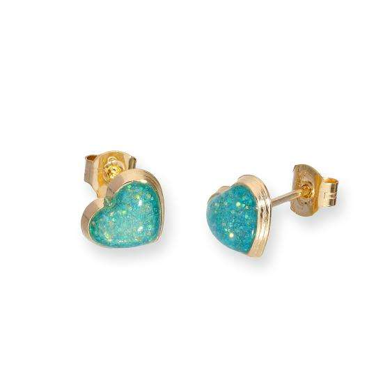 9ct Gold & Turquoise Glitter Enamel Heart Stud Earrings
