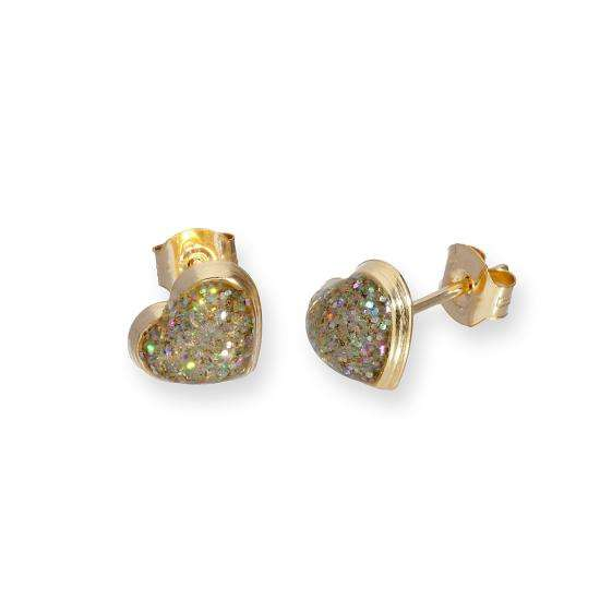 9ct Gold & Silver Glitter Enamel Heart Stud Earrings