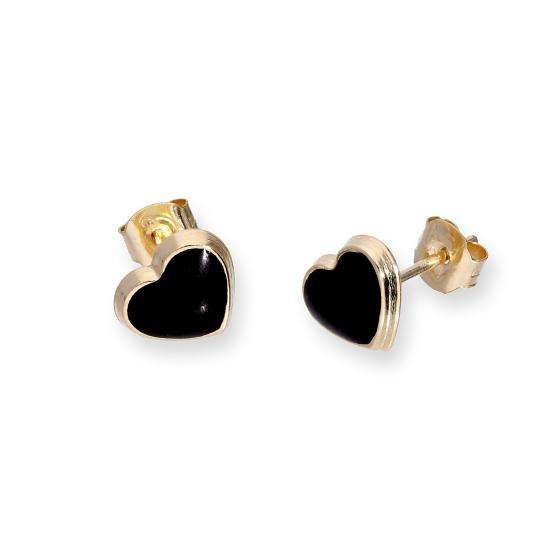 9ct Gold & Black Glitter Enamel Heart Stud Earrings