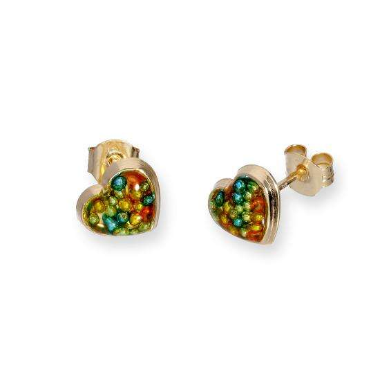9ct Gold & Multicoloured Glitter Enamel Heart Stud Earrings
