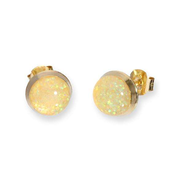 9ct Gold & Opal Glitter Enamel Round Stud Earrings