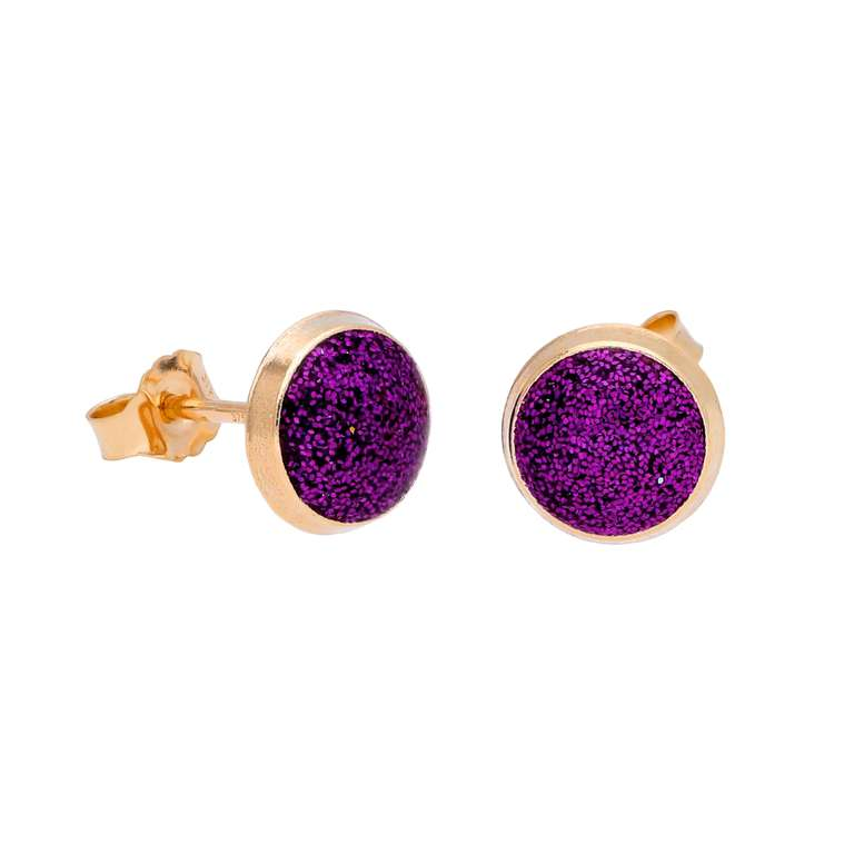 9ct Gold & Purple Glitter Enamel Round Stud Earrings