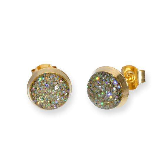 9ct Gold & Silver Glitter Enamel Round Stud Earrings