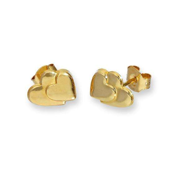 9ct Gold Flat Double Heart Stud Earrings