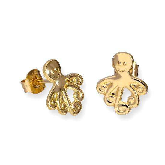 9ct Gold Flat Octopus Stud Earrings