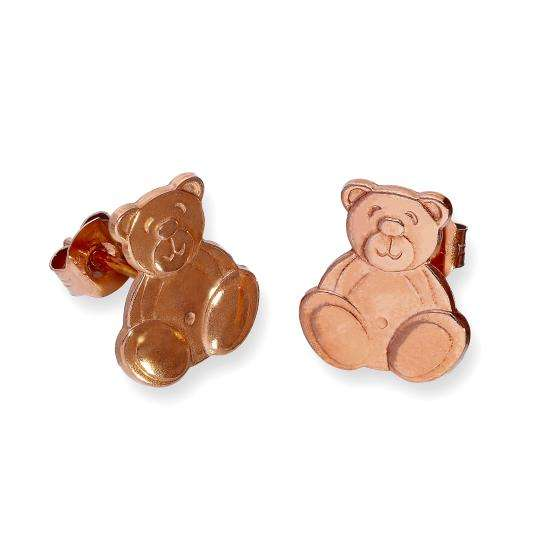 9ct Rose Gold Flat Teddy Bear Stud Earrings