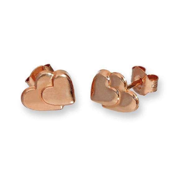 9ct Rose Gold Flat Double Heart Stud Earrings